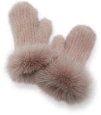 Pologeorgis Fox Fur-Trimmed Mink Mittens