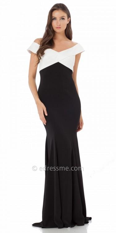 Carmen Marc ValvoCarmen Marc Valvo Infusion Off The Shoulder Two Tone Prom Dress