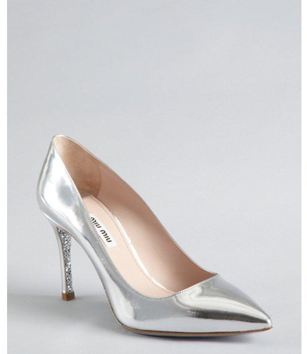 Miu Miu Miu silver patent leather and glitter sole pumps