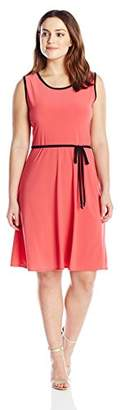 Star Vixen Women's Plus-Size Sleeveless with Contrast Piping and Self-Belt