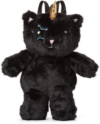Betsey Johnson Luv Betsey By Black Fluf Unicorn Backpack