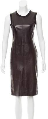 Calvin Klein Collection Leather-Paneled Cashmere Dress
