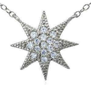 Lord & Taylor Sterling Silver and Cubic Zirconia Starburst Pendant Necklace