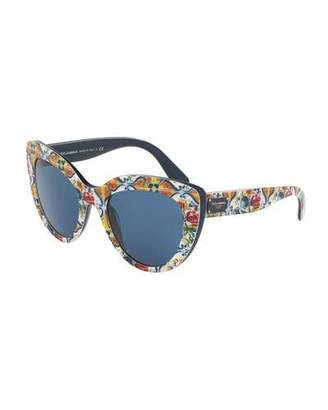 Dolce & Gabbana Floral Majolica Monochromatic Cat-Eye Sunglasses, Blue $270 thestylecure.com