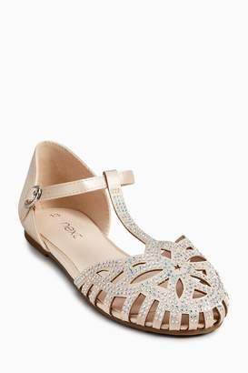 Next Girls Ecru T-Bar Heatseal Shoes (Older)