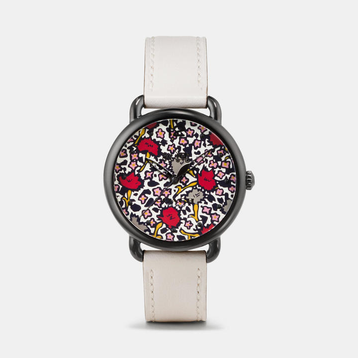 Coach  COACH Coach Delancey Ionized Plated Floral Dial Leather Strap Watch