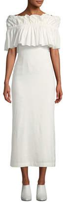 REJINA PYO Mina Ruffle Off-Shoulder Linen Maxi Dress