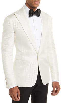 Ralph Lauren Tonal Houndstooth One-Button Dinner Jacket