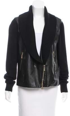 Jason Wu Knit-Accented Leather Jacket