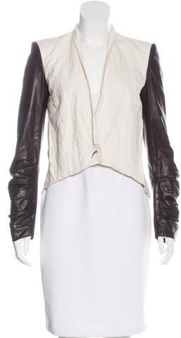 Helmut LangHelmut Lang Leather-Trimmed Structured Jacket