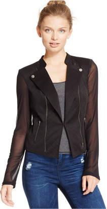 Material Girl Juniors' Illusion Embossed Moto Jacket