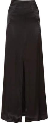 Les Héroïnes - Malala Hammered-satin Maxi Skirt - Black