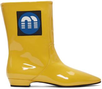Miu Miu Yellow Patent Logo Boots
