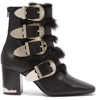 Toga Buckled Faux Fur Trimmed Leather Ankle Boots - Womens - Black