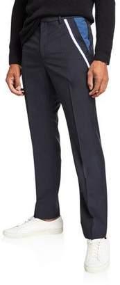 Valentino Men's Ribbon Trim Wool-Blend Trousers
