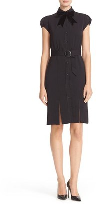 Women's Alice + Olivia Carie Belted Multi Slit Shirtdress With Bow Tie $395 thestylecure.com