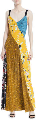 Diane von Furstenberg Sleeveless Paneled Lily-Print Silk Maxi Dress
