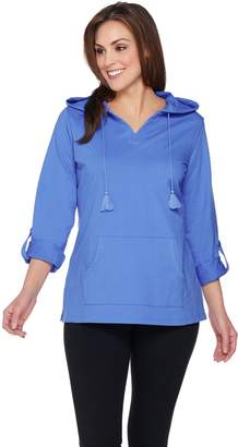 Denim & Co. Active Hooded Tunic with Roll Tab Sleeves
