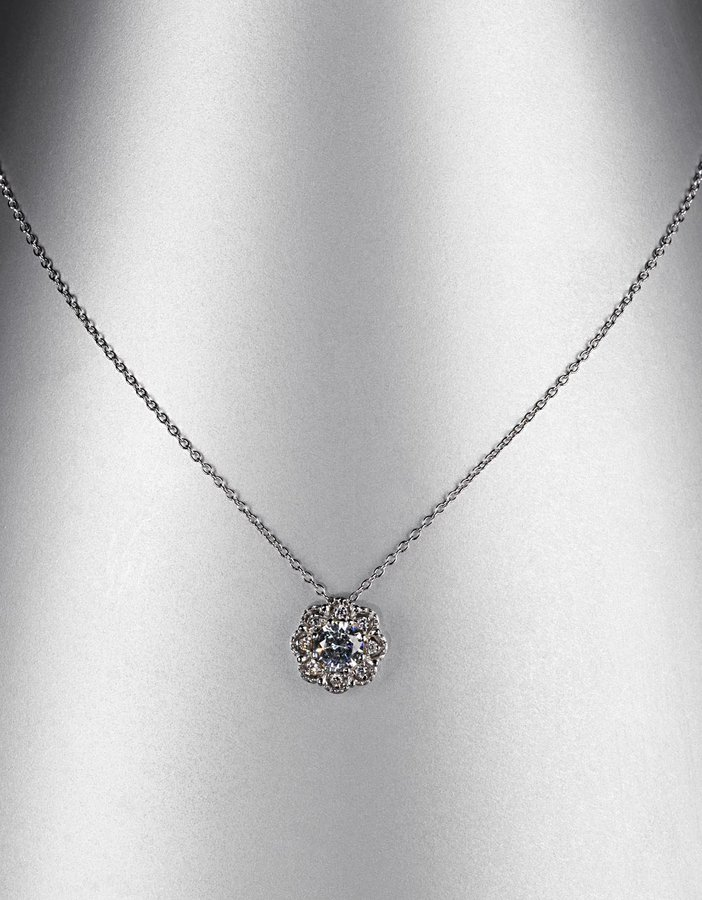LORD & TAYLOR Sterling Silver Cubic Zirconia Flower Pendant Necklace