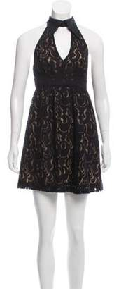 Anna Sui Sleeveless Point-Collar Lace Dress Black Sleeveless Point-Collar Lace Dress
