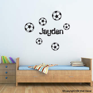 H&M Wall Decal Personalised Name with 6 Soccer Balls Wall Sticker