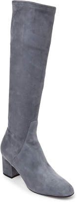 Valentino Grey Suede Knee-High Stretch Boots