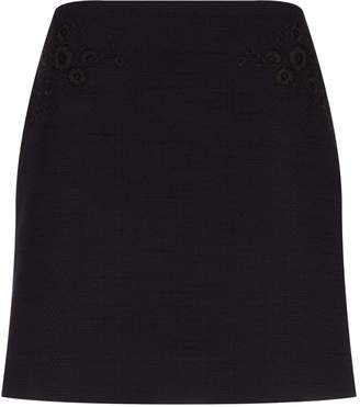 Claudie Pierlot Embroidered Tweed Mini Skirt