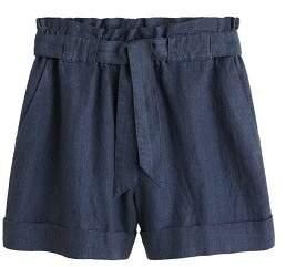 MANGO Bow linen short