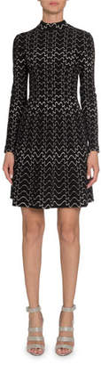 Alaia Squiggle Mock-Neck Half-Zip Long-Sleeve A-Line Dress