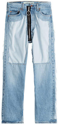 Off-White Distressed High-Waist Jeans with Zipper