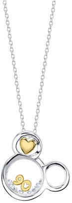 "Disney Disney's Two-tone Crystal Mickey Mouse 90th Anniversary Glass Shaker Pendant Necklace in Sterling Silver for Unwritten, 18"" Chain"
