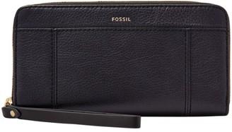 Fossil Jori Rfid Zip Clutch Wallet Midnight Navy