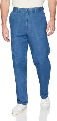 Haggar Men's Work To Weekend No Iron Denim Plain Front Pant ,Med Stonewash,38x31