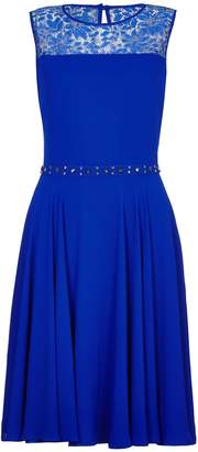 Yumi Lace Skater Dress With Embellished Waist