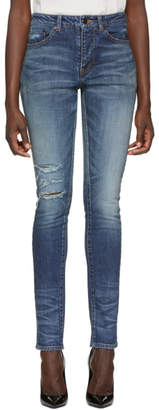 Saint Laurent Blue Used Denim Jeans