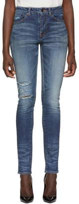 Saint Laurent Blue Used Denim Jeans