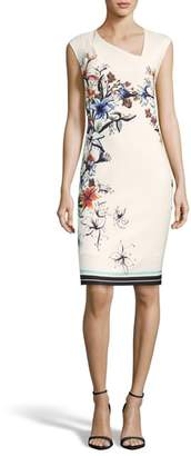 ECI Floral Asymmetric Sheath Dress