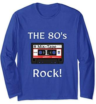The 80's Rock! Cassette Tape White Print Retro Gift T-Shirt