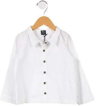 LeoCa Girls' Pointed Collar Button-Up Top w/ Tags