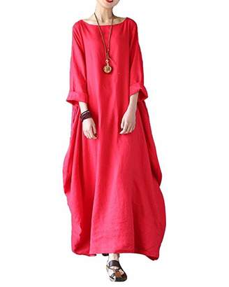 BIUBIU Women's Linen Cotton Loose Maxi Dress Vintage 3/4 Sleeve Kaftan Plus Size 5XL