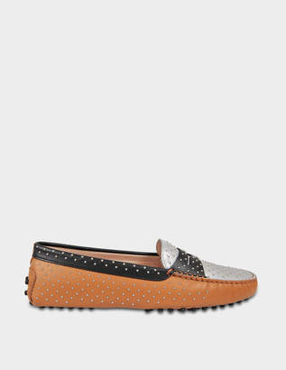Tod's Gommino Micro Studs Moccasins in Tan, Silver and Black Calfskin