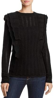 Aqua Ruffled Pointelle Cashmere Sweater - 100% Exclusive