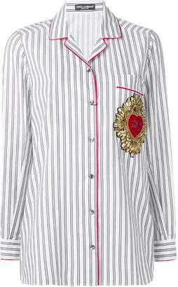 Dolce & Gabbana striped brooch detail blouse