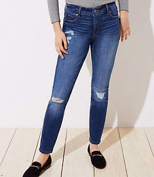 LOFT Curvy Destructed Slim Pocket Skinny Jeans in Mid Indigo Wash