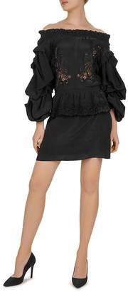 The Kooples Patch And CDC Off-The-Shoulder Mini Dress