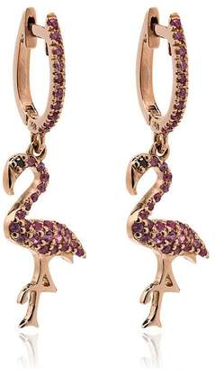 Ileana Makri 18k rose gold flamingo hoops with pink sapphires and black diamond eyes