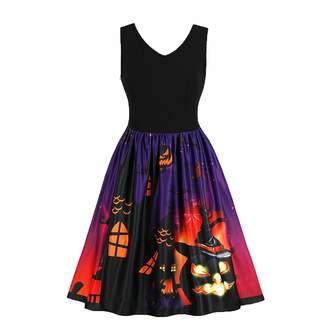 Hunter Little Plus Size Women Printed Pumpkin Halloween Swing Skater Dress
