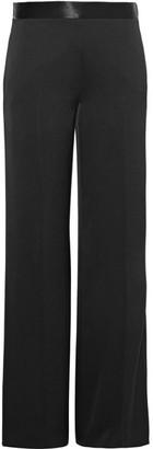 Victoria Beckham - Satin-trimmed Crepe De Chine Wide-leg Pants - UK10