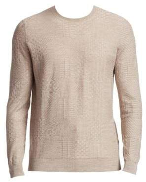 Saks Fifth Avenue COLLECTION Tonal Patchwork Crewneck Sweater
