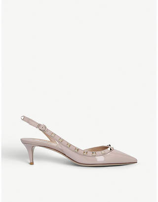 Valentino Rockstud patent-leather slingback courts